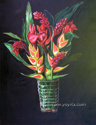 Tropical flowers still life atelier Yoyita Art Gallery Alpinia purpurata, red ginger; Etlingera elatior Torch Ginger, Torch-ginger, Philippine Waxflower; Etlingera elatior, Hanging Lobster Claw, False Bird of Paradise, Lobster-claw, Crab Claw, Hanging Heliconia