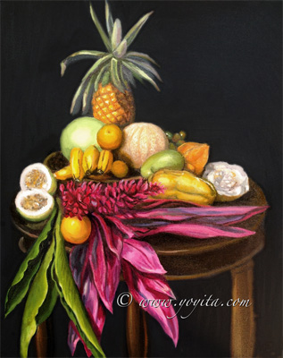 still life pianneaple banana oranges papaya calala ginger granadilla melon jocote oil painting by Atelier Yoyita art gallery