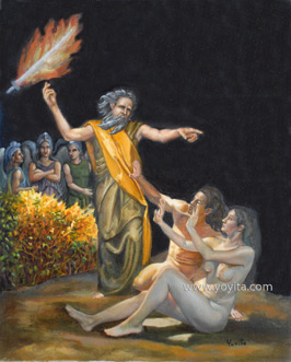 Expulsion from paradise reanassaince style oil painting