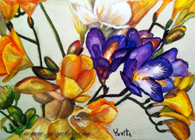 Fleurs flowers yellow white violet blue watercolor painting by Yoyita