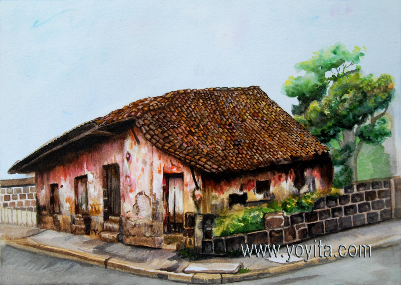 Watercolor of an old house in Jinotepe Nicaragua