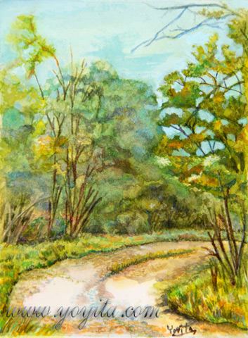 The path miniature watercolor  by Yoyita