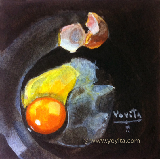 still life raw egg watercolor by Yoyita art gallery