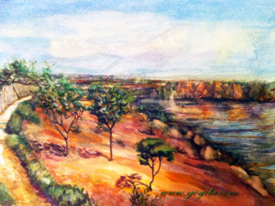 red ochre landscape water watercolor