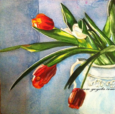 red and white Tulips on a white decorated vase watercolor painting by Yoyita