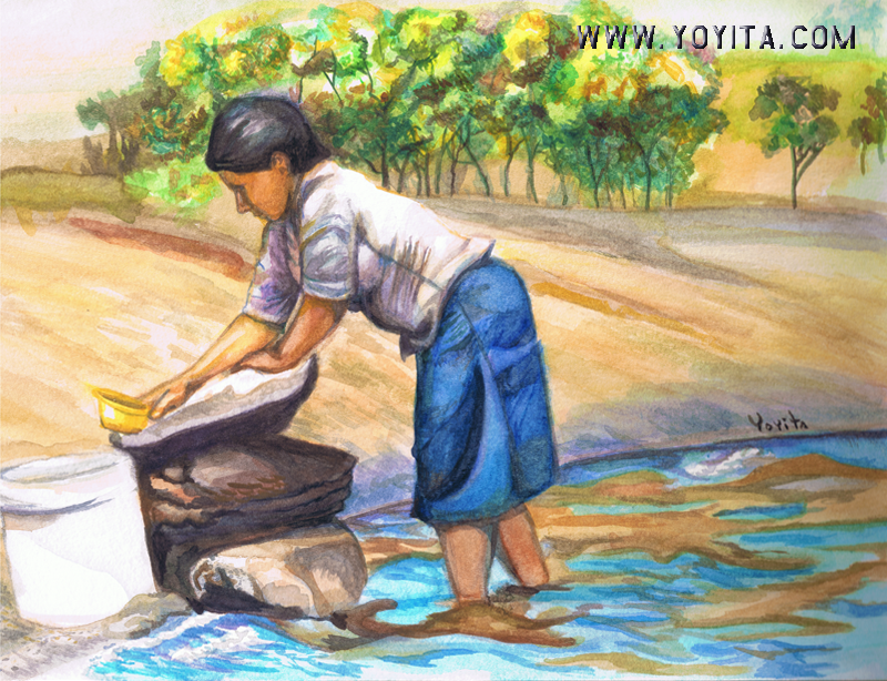 country woman washing clothes in the lagoon watercolor