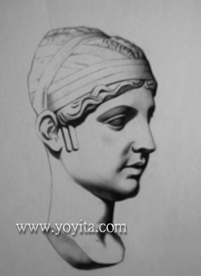 Bargue drawing female head by Yoyita