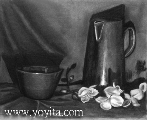 http://www.yoyita.com/still life pitcher pot flowers by Yoyita charcoal