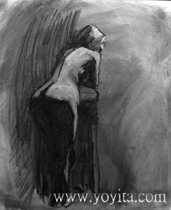back female nude charcoal drawing by Yoyita