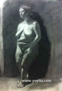 female leaning, charcoal drawing