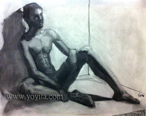 sitting male nude by yoyita charcoal