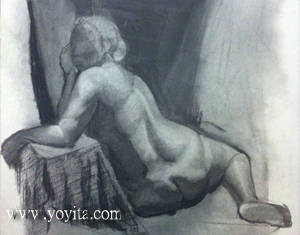 nude female seated charcoal drawing by Yoyita