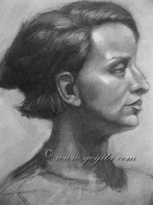 profile female charcoal Atelier Yoyita retrato portrait