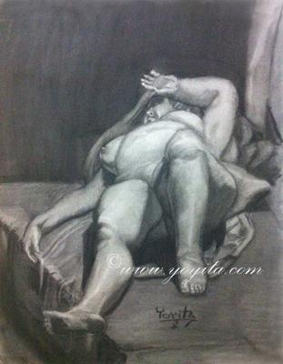 desnudo masculino diagonal charcoal Atelier Yoyita male nude back