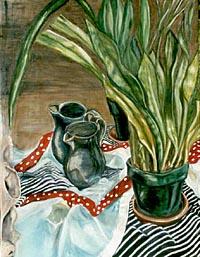 naturaleza muerta panta y jarra frente a un espejo pintura de oleo por Yoyita